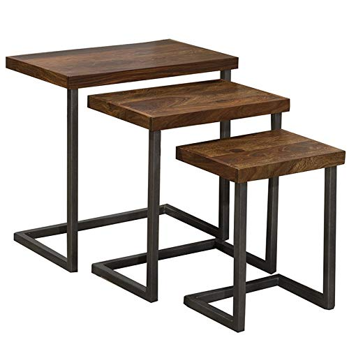 Hillsdale Emerson 3 Piece Nesting End Table Set in Natural and Gray