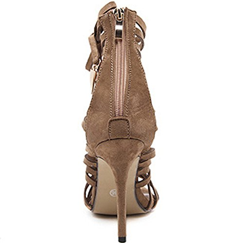 Sandals Zipper Open Gladiator Womens up D2C Back Toe Lace Beauty Camel Strappy ZxFWwqpU