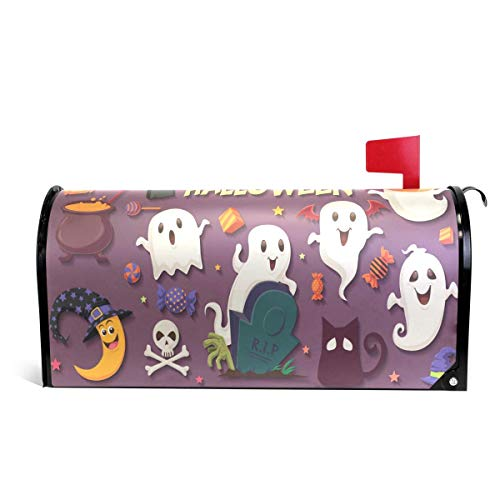 Vintage Halloween with Ghost Letter Post Box Cover Wrap Decoration Welcome Home Garden Outdoor,Vinyl Mailbox Wraps Holiday Standard 6.5 x 19 inch