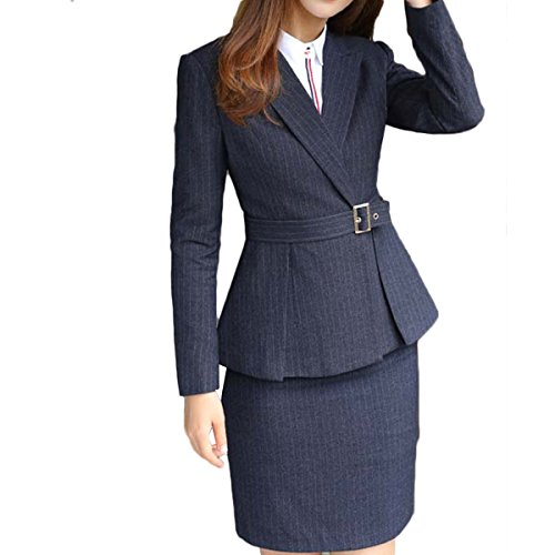 Women's 2 Piece Business Skirt Suit Set Office Lady Slim Fit Blazer and Skirt by YUNCLOS