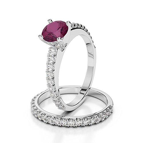 Or blanc 18carats 1CT G-H/VS Certifié Coupe ronde Rubis et diamant de mariage Bague de fiançailles et ensemble de Agdr-2057