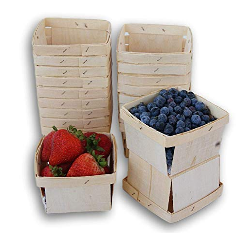 Pint Square Vented Wooden Berry Baskets - Set of 20
