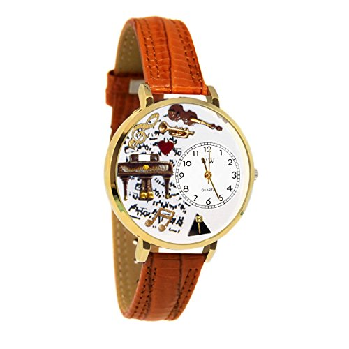 Whimsical Watches Unisex G0510007 Music Piano Tan Leather Watch