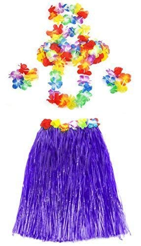 Ladies Hula Honey Instant Kit Hawaiian 5pc Fancy Dress Grass Skirt Luau Costume