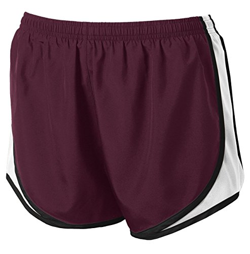 Clothe Co. Ladies Moisture Wicking Sport Running Shorts, Maroon/White/Black, S