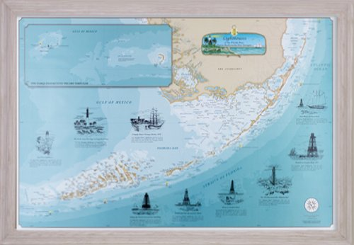 Florida Keys Lighthouses Chart: Fowey Rocks to the Dry Tortugas (Whitewash frame) by Sealake Products