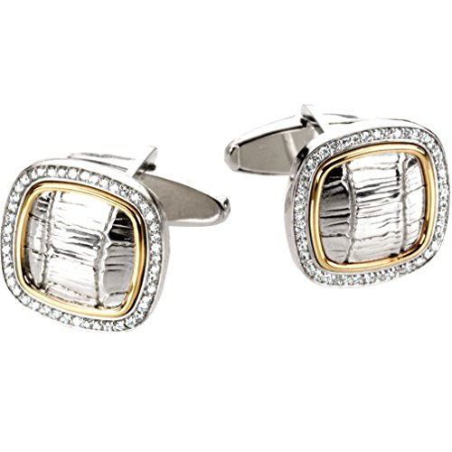 2-Tone Diamond Halo Square Cuff Links with Croc Pattern, Sterling Silver, 14k Yellow Gold (.50 Ctw, GH Color, (Diamond Dress Shirt)