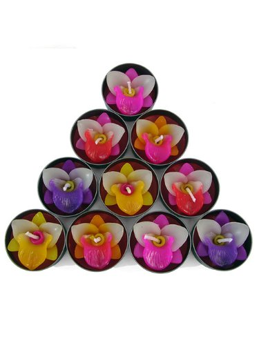 Relax Spa Shop @ Orchid Candle in Tea Lights , Floating Candles, Scented Tea Lights ,Aromatherapy Relax, Decorative Candles,(no.2 Orchid Candle in Tea Lights Pack of 10 Pcs.)