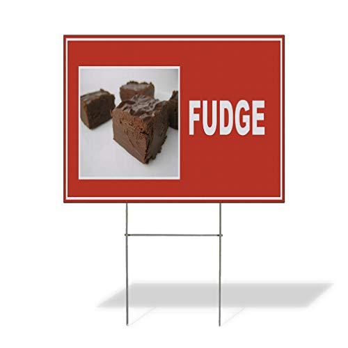 Plastic Weatherproof Yard Sign Fudge Red Brown White Fudge Chocolate & Fudge Black Fudge for Sale Sign Multiple Quantities Available 18inx12in One Side Print One - Black Fudge