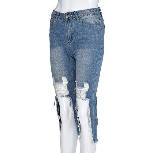 Strappati Jeans Quarti Design donne jeans Blu Pantaloni Leggings Donna Denim Cinque Distrutto Moda Pantaloncini Lqqstore Sciolto Elastico P1z6qw