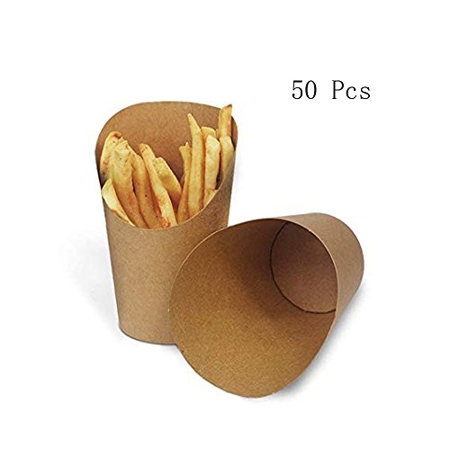 KINGZHUO Disposale Take-out Party Frozen Dessert Supplies Baking Cakes Egg Waffle French Fries Chips Ice Cream Snacks Kraft Paper Cups Holder, 14 Ounce, 50 Pcs