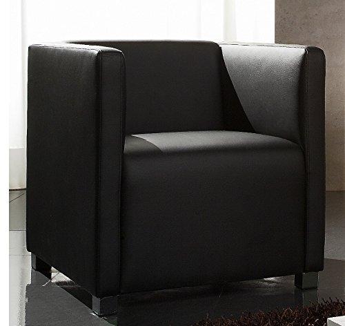 object de, Big Ben, Sessel mit Armlehnen und Blockkissen, Dick - Lederbezug Dunkelbraun, Armchair, Loungechair