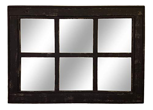 Large Wall Mirror Rustic Modern Home Home Decor Herringbone Window 6 Pane Mirror Reclaimed Wood Framed Mirror Available in 2 Sizes and 20 Paint colors: Shown in Kettle Black