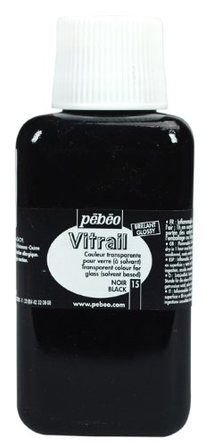 (Pebeo Vitrail, Stained Glass Effect Paint, 250 ml Bottle - Black)