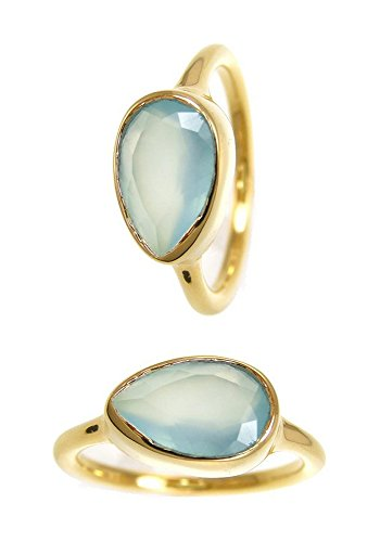 Aqua Seafoam Chalcedony Gold Plated Sterling Silver Rings - Tear Drop Stackable Bezel Rings - Gemstone (Gemstone Teardrop Ring)