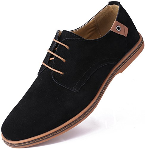 Marino Suede Oxford Dress Shoes for Men - Business Casual Shoes - Black- 11 D(M) US - Ultimate Work Oxford