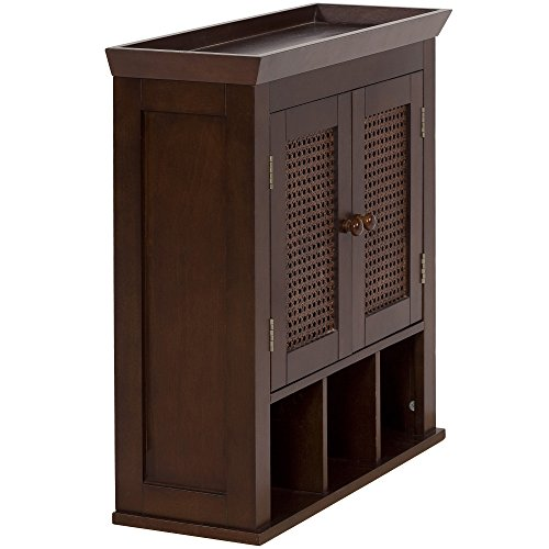 Elegant Home Fashions Wall Cabinet with Cane-Paneled Doors and Storage Cubbies, Cane Brown by Elegant Home Fashions (Image #3)