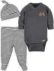 Gerber Baby-Boys Organic 3-Piece Onesies Bodysuit, Footed Pant, and Cap Set