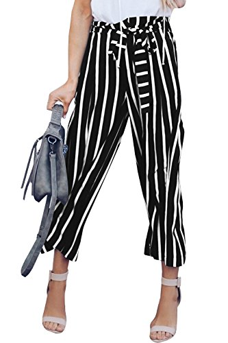 (Sherrylily Womens Striped Tie Waist Wid Leg Pallazo Capris Cropped Pants, Black, Large)