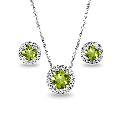 Sterling Silver Peridot and White Topaz Round Halo Necklace and Stud Earrings (Shape Peridot Wedding Set)