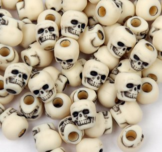 JOLLY STORE Crafts Skull Beads Antiqued Ivory