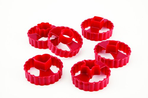 Chicago Metallic Linzer Cookie Cutters, Set of 6, Red