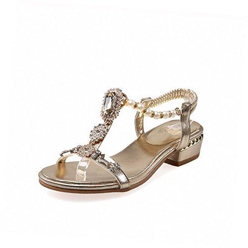 Amoonyfashion Mujeres Open-toe Low-heels Material Suave Solid Elástico Sandalias Dorado