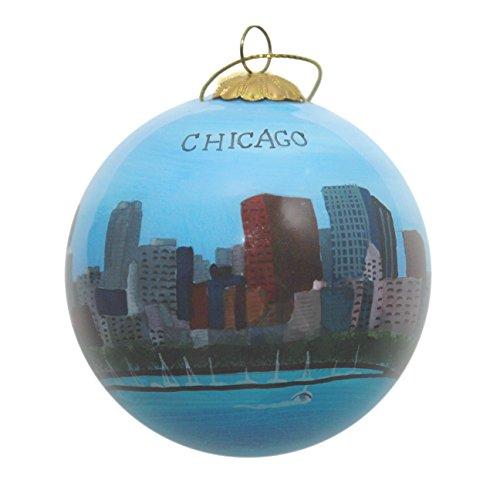 Hand Painted Glass Christmas Ornament - Chicago, Illinois Skyline