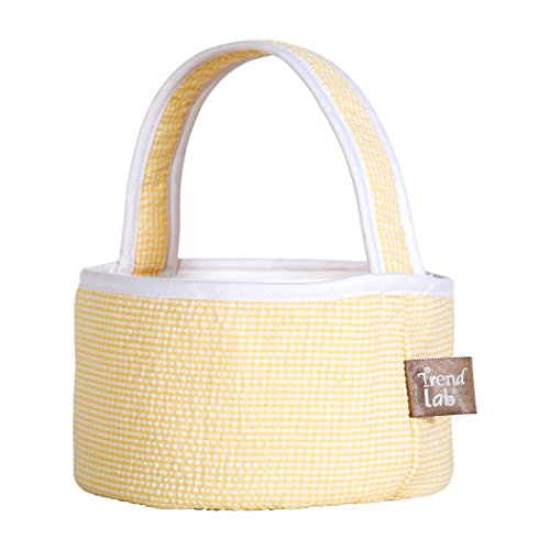 Trend Lab Yellow Gingham Seersucker Collapsible Round Caddy