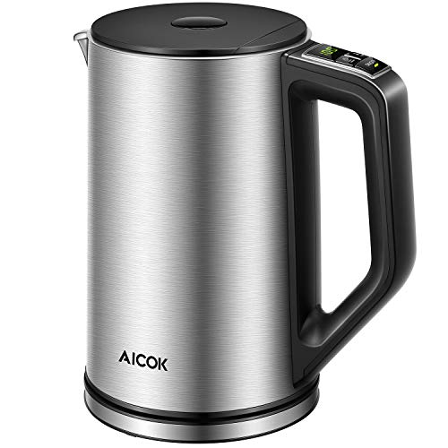 Aicok Electric Kettle Temperature Control, Double Wall Cool Touch Stainless Steel Water Kettle with LED Display from 90 ℉-212℉| BPA-Free | Strix Control | Keep Warm | Quick Boil | (1.5 L, 1500 W) by AICOK