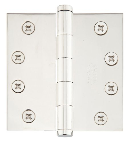 Emtek 96215 4.5'' x 4.5'' Solid Brass Square Corner Plain Bearing Mortise Hinge -, Polished Nickel