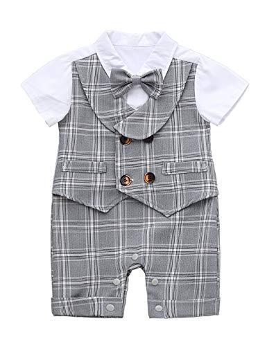 HMD Baby Boy Gentleman White Shirt Waistcoat Bowtie Tuxedo Onesie Jumpsuit Overall Romper (Plaid, 9-12 M)