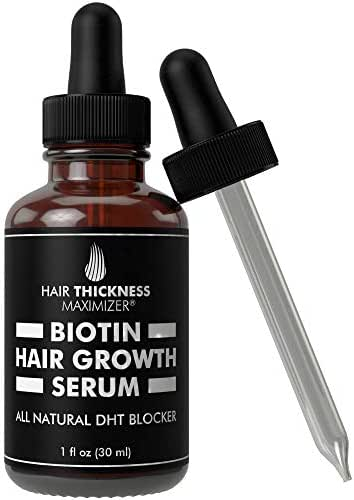 Hair Growth Serum with Biotin Oil by Hair Thickness Maximizer. For Hair Loss, Damaged, Dry, Frizzy Hair. Natural Thickening and Smoothing of Hair and Nourishing of Scalp for Women and Men (1oz)