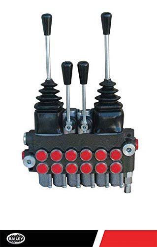 CHIEF P40 Directional Control Valves (22 Series): 6 Spool 4-Way 3 Pos. Tandem Center, 3 Pos. Spring Center, 10 GPM, 3625 PSI, SAE 10 Inlet/Outlet, 1500-3625 PSI Adjustable, SAE 8 Work Port, 220951