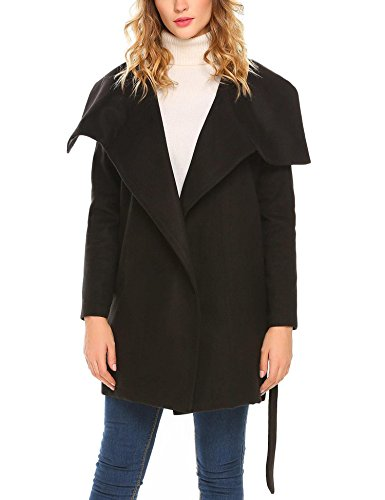 Wool Blend Trench - Dethler Women Wide Lapel Open Front Solid Casual Black Wrap Wool Blend Trench Coat w/Belt