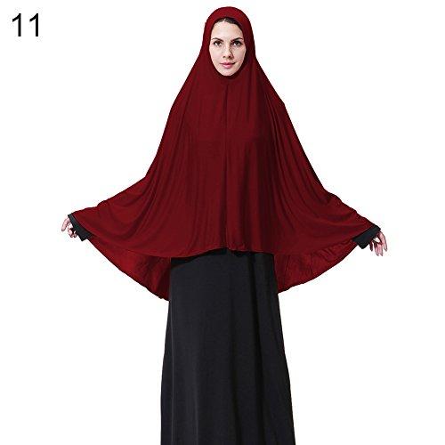 Trenton Elegant Modest Muslim Islamic Ramadan Soft Lightweight Jersey Hijab Long Scarf for Women Wine Red L by TRENTON