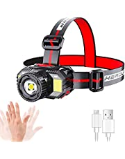 Rechargeable Headlamp,LED Head lamp with Motion Sensor Light Switch,Ultra HeadLamp Flashlight with Blue Red Strobe SOS Lights,Waterproof Headlight for Outdoor Camping Cycling Running Fishing