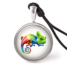 Vietsbay's Cartoon Rainbow Chameleon Necklace Pendants Pewter Silver
