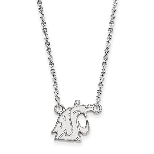 925 Sterling Silver Officially Licensed Washington State Small Pendant with Necklace (Genuine Mlb Necklace)