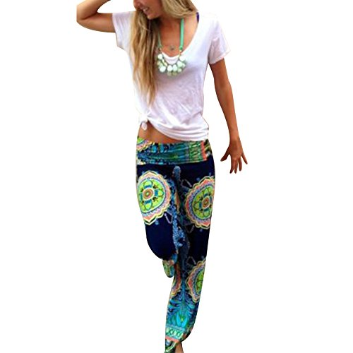 West See Frauen-Harem Kausal Wide Leg Yoga lose lange Palazzo Hosen Hosen Baggy (36, mehrfabrig)