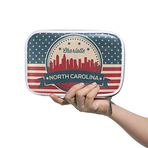 North Carolina State Charlotte Skyline Pencil Case Pen Organizer Pouch Stationary Case Makeup Cosmetic Bag