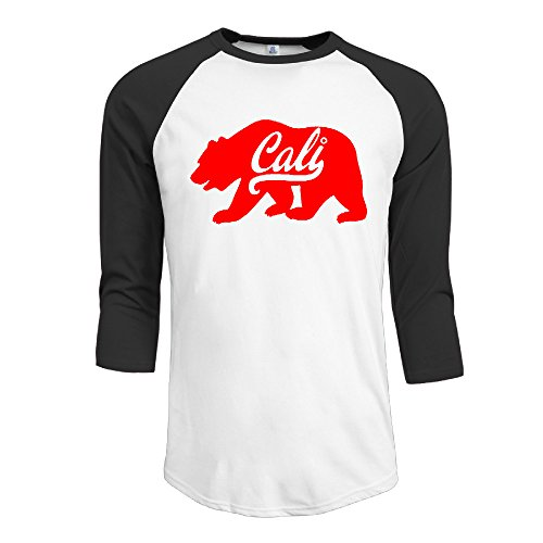 Cotton California Bear American President Election Men's 3/4 Sleeve Raglan Tops Shirt