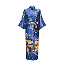 ACVIP Women's Satin Japanese Patterned Kimono Long Sleepwear 8 Colors