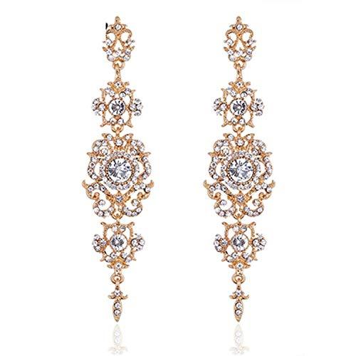 Guy-Sex Faddish Minmin Silver Color Crystal Wedding Long Earrings Floral Shape Chandelier Earrings for Women Brides Bridesmaid