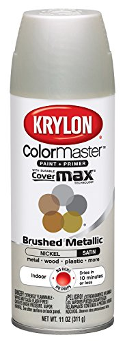 Krylon K05125507 ColorMaster Paint + Primer, Brushed Metallic, Satin, Nickel, 11 oz.