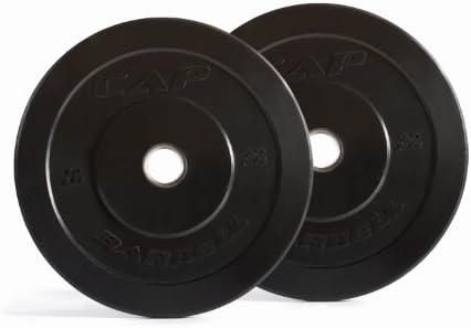 CAP Barbell Black Rubber Bumper Plates, Pair