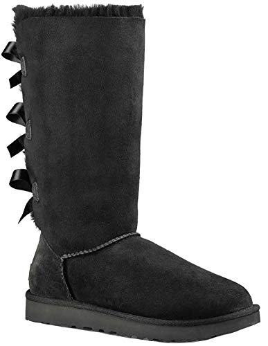 UGG Australia Women's Bailey Bow Tall Black Sheepskin Boot 7