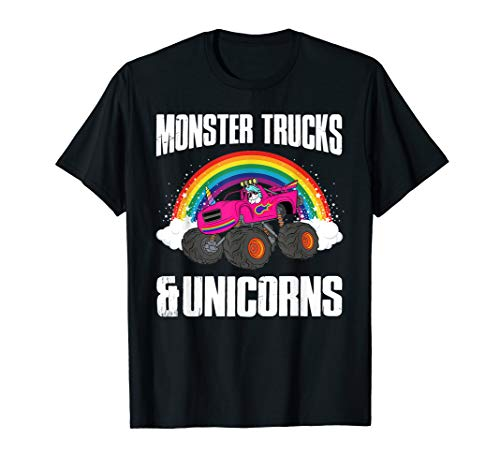 Monster Truck and Unicorn With Sunglasses Rainbow T -