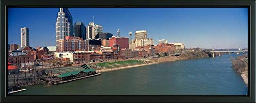 Nashville Framed Tn (Easy Art Prints Panoramic Images's 'Panoramic Morning View of Cumberland River and Nashville, TN' Premium Framed Canvas Art - 40