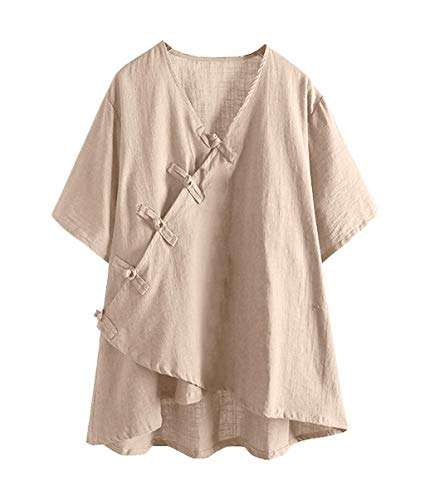 Chinese Traditional Tops for Women Short Sleeve Vintage Button Shirts Summer Wrap Tees Casual Blouses M-3XL Beige (Vest Traditional Chinese Women)